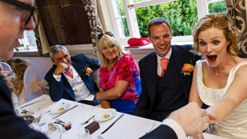 NOEL QUALTER makes a bride gasp with an iPad magic trick at her wedding